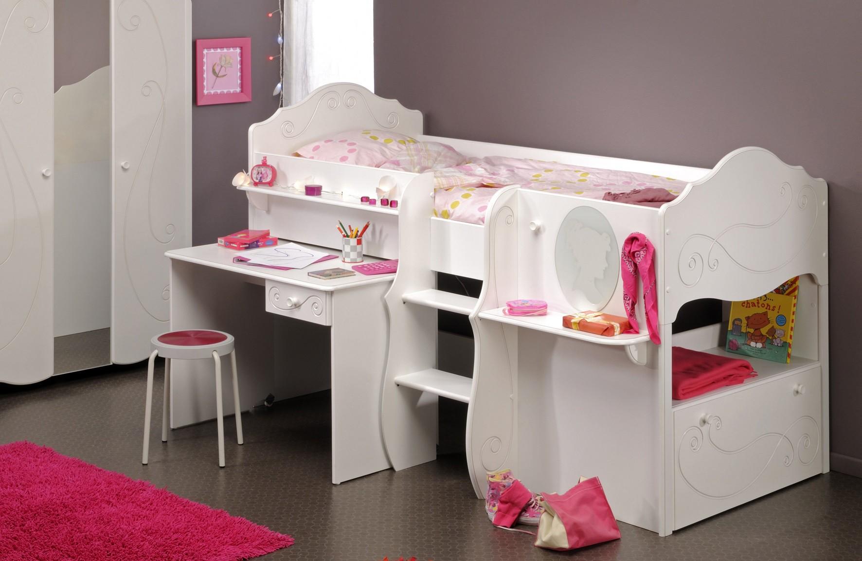 lit enfant blanc fille. Black Bedroom Furniture Sets. Home Design Ideas