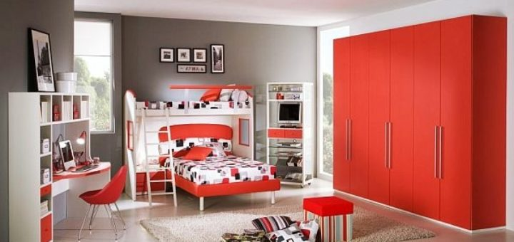 chambre ado gar on gris et rouge pi ti li. Black Bedroom Furniture Sets. Home Design Ideas
